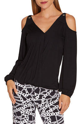 Cold shoulder surplice grommet long sleeve top