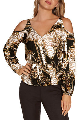 Cold shoulder surplice printed top