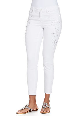 Embroidered and embellished pocket ankle jean