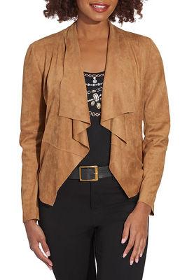 Faux suede drape jacket
