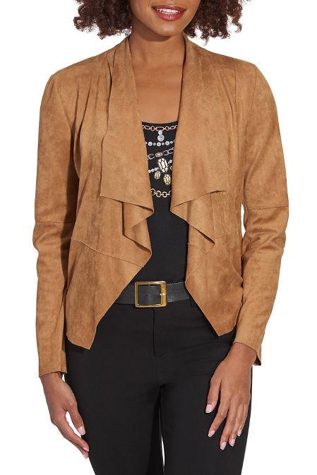 Faux suede drape jacket image