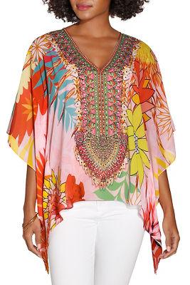Floral embellished poncho