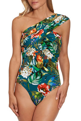 Floral print goddess one piece swimsuit