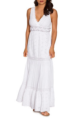 Lace shell embellished maxi dress
