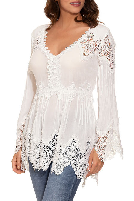 Long sleeve lace tunic top image