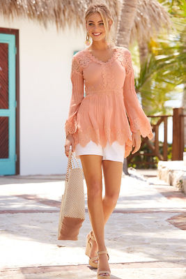 Long sleeve lace tunic top