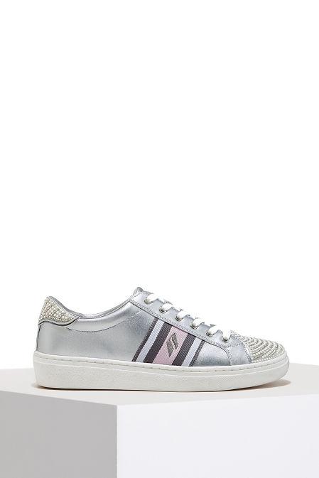 Metallic rhinestone sneaker image