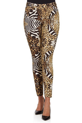 Mixed animal print ankle jean