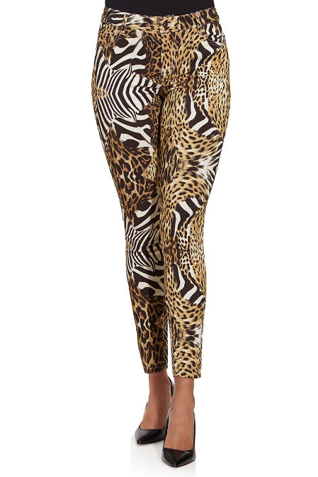 Mixed animal print ankle jean image