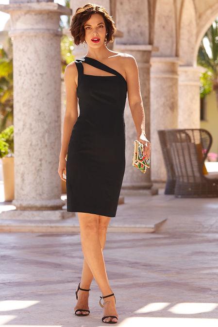 One shoulder cutout sheath dress image