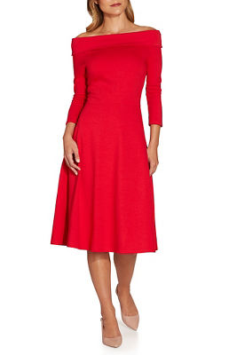 Off the shoulder ponte fit and flare dress