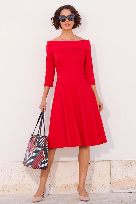 Off the shoulder ponte fit and flare dress image