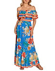Off The Shoulder Tropical Chain Maxi Dress Photo