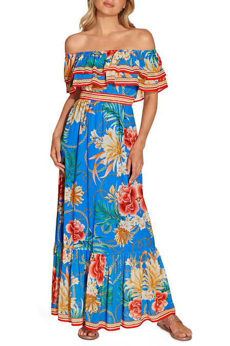 Off the shoulder tropical chain maxi dress image