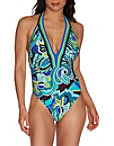 Plunging Paisley Print One Piece Swimsuit Photo