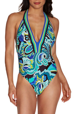 Plunging paisley print one piece swimsuit