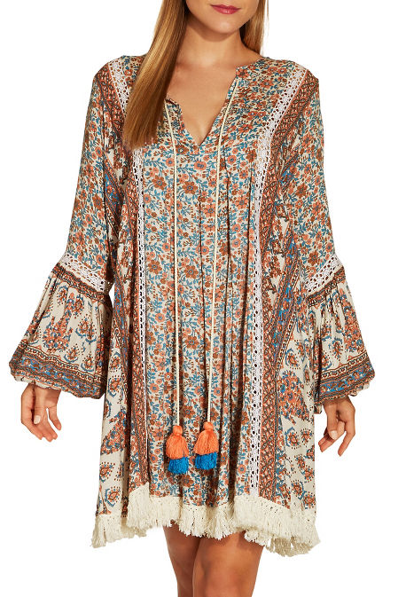 Printed tassel dress image