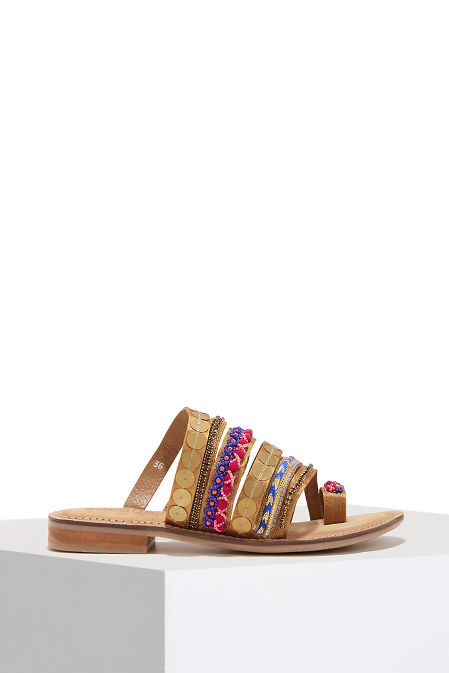 Sequin embroidered toe ring sandal image
