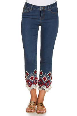 Shell and bead trim cropped jean