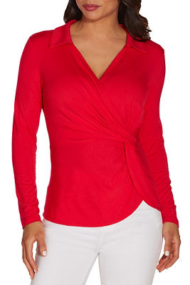 Surplice collared long sleeve top
