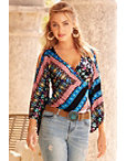 V Neck Surplice Wrap Print Top Photo