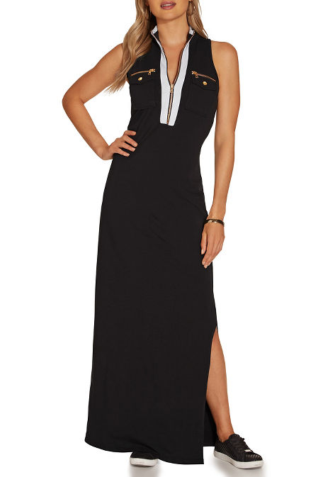 Chic zip maxi dress image