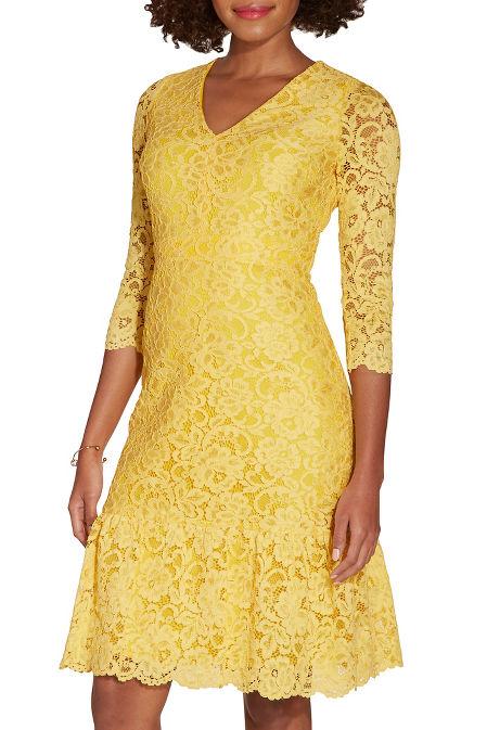 V neck lace flutter dress image