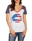 American Flag Lips Short Sleeve Tee Photo