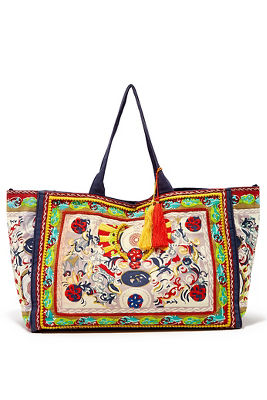 mixed paisley print tote bag