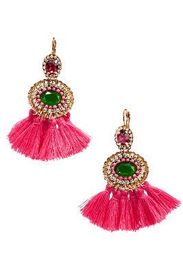 pink tassel neon earrings