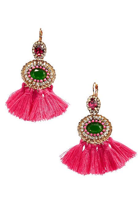 Pink tassel neon earrings image