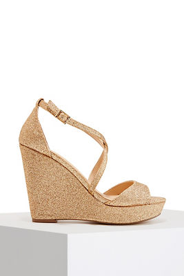 Sparkle Strappy Wedge Heel