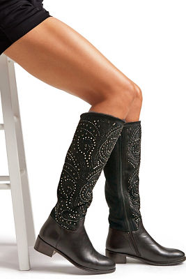 Embellished Faux-Fur Boot