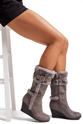 Faux-Fur Buckle Wedge Boot