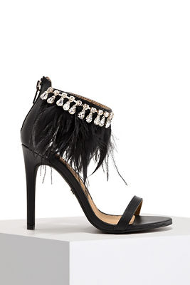 Feather Jewel Ankle Wrap Heel