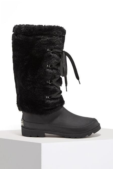Rubber Faux Fur Rain Boot image