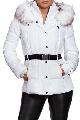 Belted Faux-Fur Trim Puffer Jacket