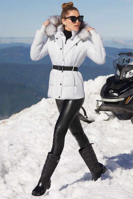 Belted Faux-Fur Trim Puffer Jacket image