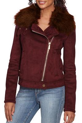 Suede Faux-Fur Moto Jacket