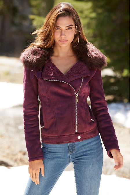 Suede Faux-Fur Moto Jacket image