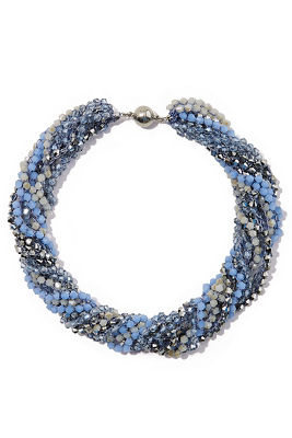 blue shades beaded necklace