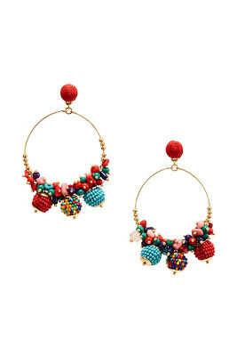 multicolor bauble hoop earrings