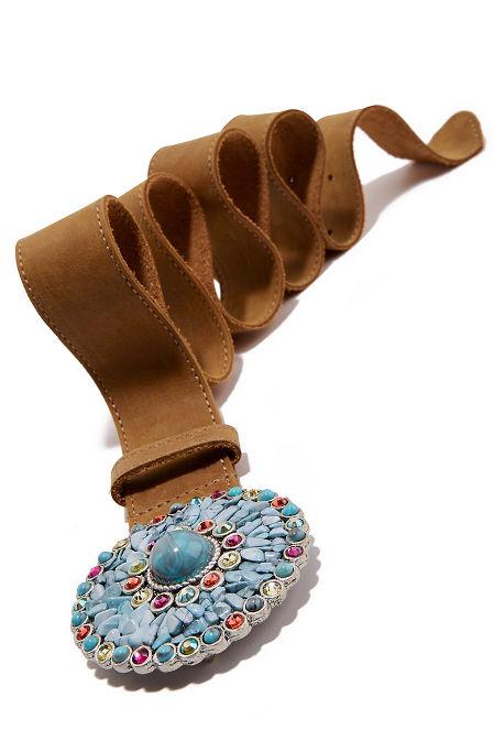 Multicolor turquoise buckle belt image