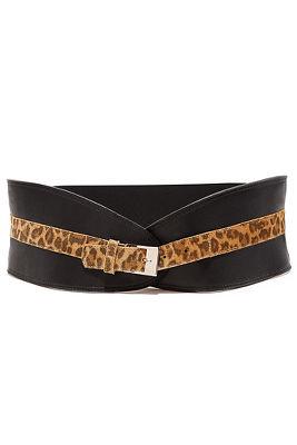 Wide leopard trim belt