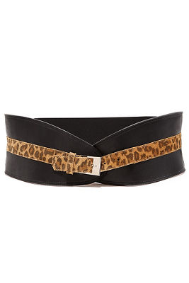 wide leopard trim belt