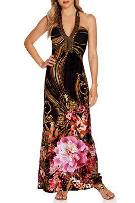 Embellished neckline printed maxi dress