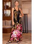 Embellished Neckline Printed Maxi Dress Photo