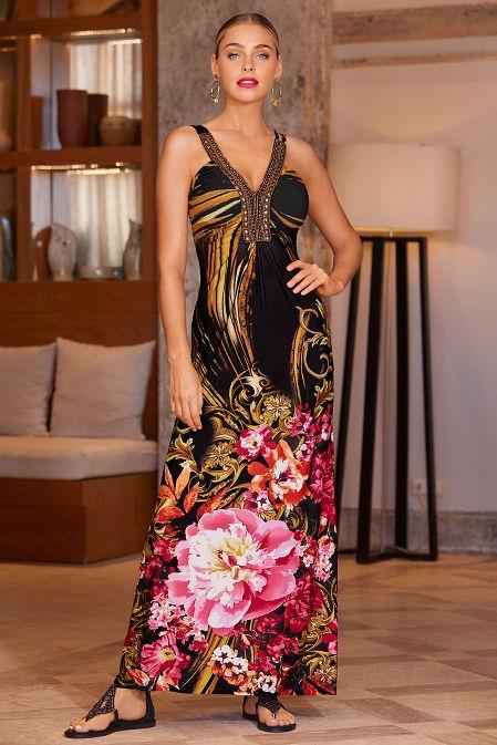 Embellished neckline printed maxi dress image