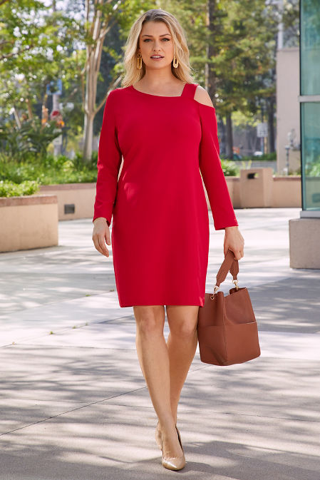Beyond Travel™ Long-Sleeve Cold-Shoulder Dress image