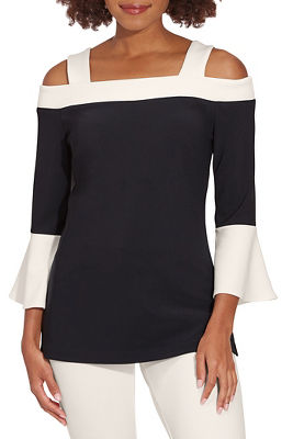 beyond travel™ flare sleeve color-block top